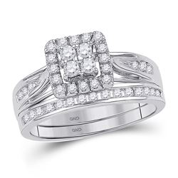 Diamond Square Cluster Bridal Wedding Ring Band Set 1/4 Cttw 10kt White Gold - REF-34A5M