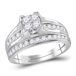 Princess Diamond Bridal Wedding Ring Band Set 1 Cttw - Size 9 14kt White Gold - REF-79F9W