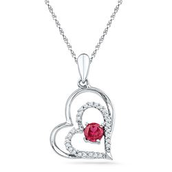 Womens Round Lab-Created Ruby Heart Pendant 1/2 Cttw 10kt White Gold - REF-9Y5N