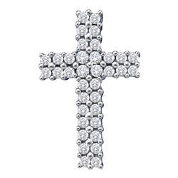 Womens Round Diamond Cross Pendant 1/2 Cttw 14kt White Gold - REF-32M5H