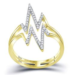 Womens Round Diamond Double Heartbeat Ring 1/5 Cttw 10kt Yellow Gold - REF-14H9R