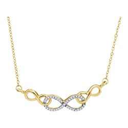 Womens Round Diamond Infinity Pendant Necklace 1/5 Cttw 10kt Yellow Gold - REF-15A9M