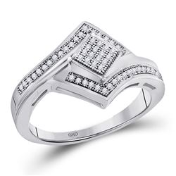 Womens Round Diamond Offset Square Cluster Ring 1/6 Cttw 10kt White Gold - REF-16X9A