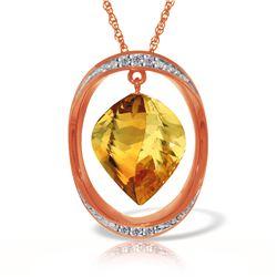 Genuine 11.85 ctw Citrine & Diamond Necklace 14KT Rose Gold - REF-112M4T