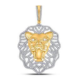 Mens Round Diamond Lion Head Charm Pendant 1-1/4 Cttw 10kt Yellow Gold - REF-96A9M