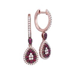 Womens Round Ruby Diamond Teardrop Dangle Earrings 7/8 Cttw 18kt Rose Gold - REF-98A5M