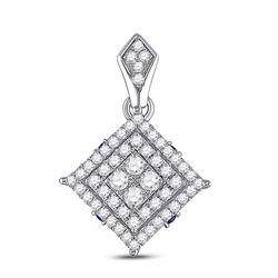 Womens Round Diamond Offset Square Pendant 1/2 Cttw 14kt White Gold - REF-38W9K