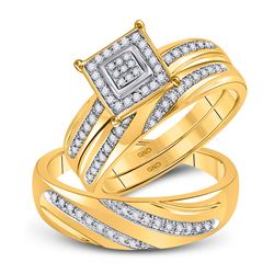 His Hers Round Diamond Square Matching Wedding Set 1/5 Cttw 10kt Yellow Gold - REF-37X9A