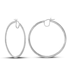 Womens Round Diamond Hoop Earrings 3/4 Cttw 10kt White Gold - REF-41A9M