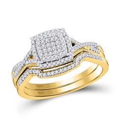 Round Diamond Square Bridal Wedding Ring Band Set 1/3 Cttw 10kt Yellow Gold - REF-29A5M