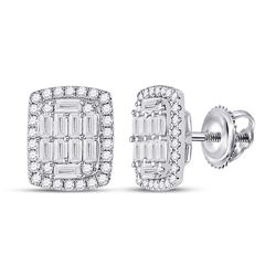 Womens Baguette Diamond Rectangle Cluster Earrings 1 Cttw 14kt White Gold - REF-82X9A