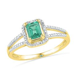 Womens Lab-Created Emerald Solitaire Diamond Split-shank Ring 1-1/2 Cttw 10kt Yellow Gold - REF-12X5
