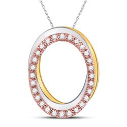 Womens Round Diamond Oval Pendant 1/6 Cttw 10kt Tri-Tone Gold - REF-14N9F