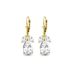 Genuine 13 ctw White Topaz Earrings 14KT Yellow Gold - REF-61T2A