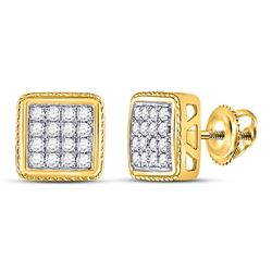Mens Round Diamond Square Cluster Earrings 1/2 Cttw 14kt Yellow Gold - REF-35M9H
