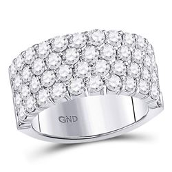 Womens Round Diamond 4 Row Pave Wedding Band 3 Cttw 14kt White Gold - REF-230N5F
