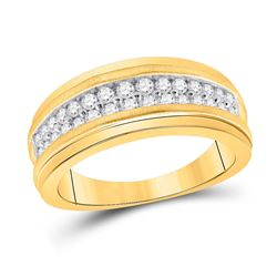 Mens Round Diamond Wedding Double Row Band Ring 3/4 Cttw 10kt Yellow Gold - REF-60F9W