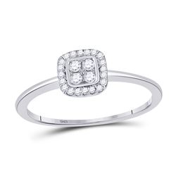 Womens Round Diamond Square Frame Cluster Ring 1/8 Cttw 10kt Yellow Gold - REF-10W5K
