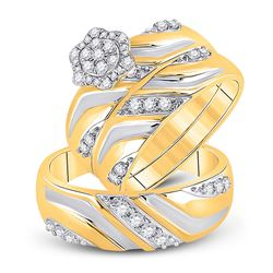 His Hers Round Diamond Cluster Matching Wedding Set 1/2 Cttw 10kt Two-tone Gold - REF-54Y5N