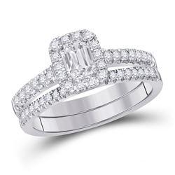 Emerald Diamond Bridal Wedding Ring Band Set 1 Cttw 14kt White Gold - REF-154N9F