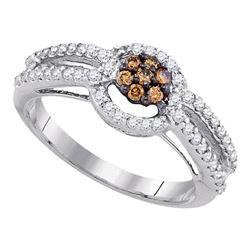 Womens Round Brown Diamond Cluster Ring 1/2 Cttw 10kt White Gold - REF-29W5K
