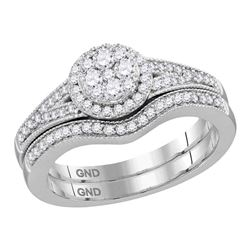 Round Diamond Cluster Bridal Wedding Ring Band Set 1/2 Cttw 10kt White Gold - REF-52X9A