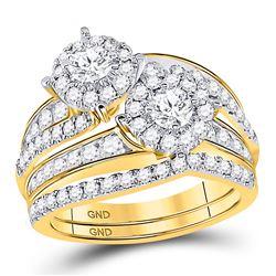 Round Diamond 2-Stone Bridal Wedding Ring Band Set 1-3/4 Cttw 14kt Yellow Gold - REF-150H5R