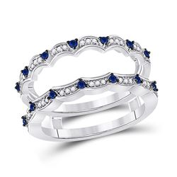 Womens Round Diamond Blue Sapphire Negative Space Band Ring 1/3 Cttw 14kt White Gold - REF-41R9X