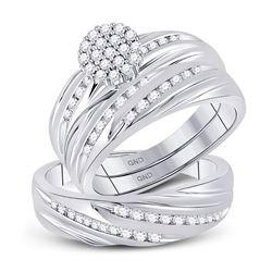 His Hers Round Diamond Cluster Matching Wedding Set 3/4 Cttw 10kt White Gold - REF-58N9F
