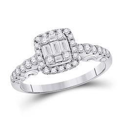 Womens Baguette Diamond Square Cluster Ring 5/8 Cttw 14kt White Gold - REF-60M9H