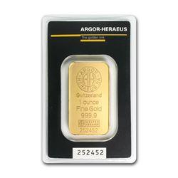 Genuine 1 oz 0.9999 Fine Gold Bar - Argor-Heraeus