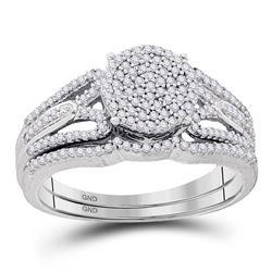 Round Diamond Bridal Wedding Ring Band Set 3/8 Cttw 10kt White Gold - REF-32F9W