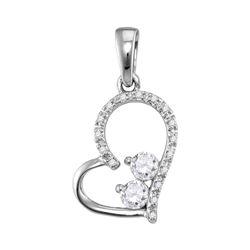 Womens Round Diamond 2-Stone Heart Pendant 1/5 Cttw 10kt White Gold - REF-16A9M
