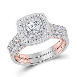Round Diamond Bridal Wedding Ring Band Set 1 Cttw 14kt Two-tone Gold - REF-146X9A