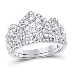 Round Diamond Bridal Wedding Ring Band Set 1 Cttw 14kt White Gold - REF-85W9K