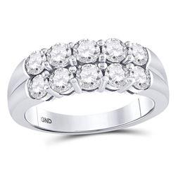 Womens Round Diamond 2-Row Anniversary Band Ring 1-1/2 Cttw 14kt White Gold - REF-214W9K
