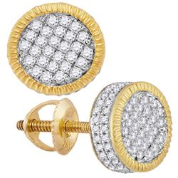 Mens Round Diamond Fluted Circle Cluster Stud Earrings 7/8 Cttw 10kt Yellow Gold - REF-41F5W