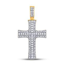 Mens Round Diamond Cross Charm Pendant 3/4 Cttw 14kt Yellow Gold - REF-62R5X