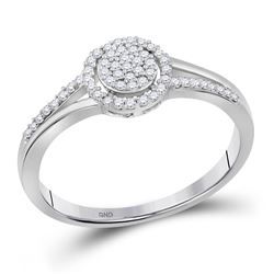 Womens Round Diamond Cluster Ring 1/6 Cttw 10kt White Gold - REF-12M5H