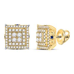 Womens Round Diamond Blue Sapphire Square Earrings 1 Cttw 14kt Yellow Gold - REF-57N5F