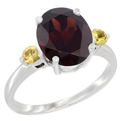 2.64 CTW Garnet & Yellow Sapphire Ring 14K White Gold - REF-34X8M