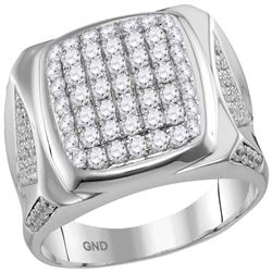 Mens Round Diamond Square Cluster Ring 2 Cttw 10kt White Gold - REF-102F5W