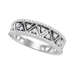 Womens Round Diamond Geometric Band Ring 1/3 Cttw 10kt White Gold - REF-26M5H