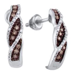 Womens Round Brown Diamond Stud Earrings 1/5 Cttw 10kt White Gold - REF-16N9F