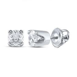 Infant Girls Round Diamond Solitaire Earrings 1/20 Cttw 14kt White Gold - REF-5H9R