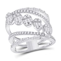 Womens Baguette Diamond Spiral Cluster Fashion Ring 1-3/8 Cttw 14kt White Gold - REF-118X5A