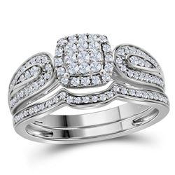 Round Diamond Cluster Bridal Wedding Ring Band Set 1/2 Cttw 10kt White Gold - REF-35M5H