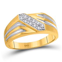 Mens Round Diamond Band Ring 1/10 Cttw 10kt Yellow Gold - REF-19F9W