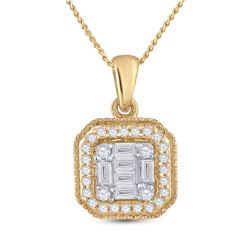 Womens Round Diamond Cushion Cluster Pendant 1/4 Cttw 14kt Yellow Gold - REF-21A5M