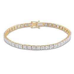 Womens Round Diamond Tennis Bracelet 1/3 Cttw 14kt Yellow Gold - REF-63R9X